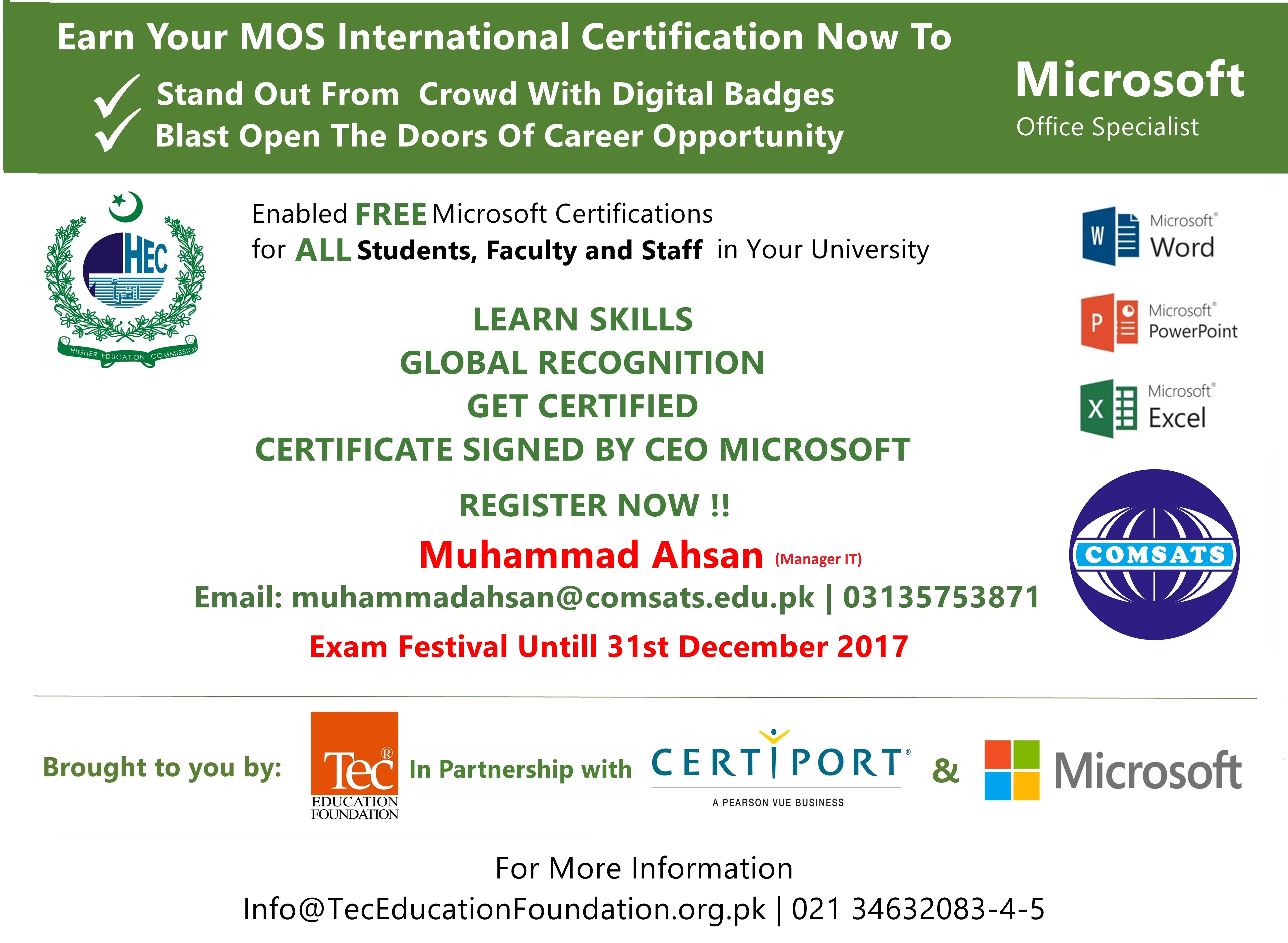 News event details free microsoft office certification exam word excel and powerpoint xflitez Gallery